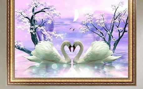 DIY obraz s se zamilovanými labutěmi