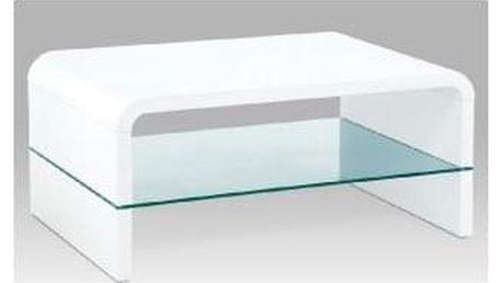 (AHG-010 WT) Konferenční stolek 90x60x40cm, MDF bílý vysoký lesk, čiré sklo AHG-610 WT