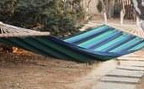 DIMENZA zahradní látková houpací síť s výztuhou v mnoha barevných provedeních Barva: modrá s pruhy