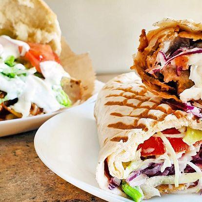 Kebab v pitě, tortille nebo s nudlemi či rýží