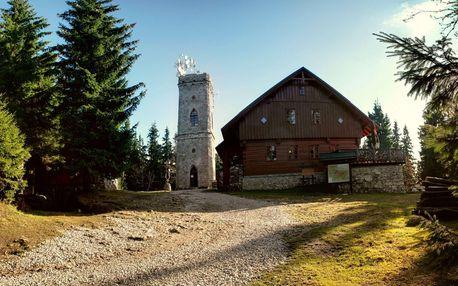 Krkonoše i centrum města Vrchlabí z hotelu Labuť s polopenzí a výjezdem na rozhlednu Žalý