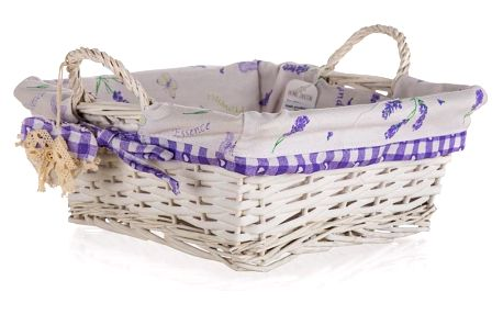 Home Decor Proutěný košík s uchy Lavender, 28 x 28 x 11 cm