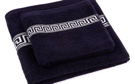 Profod Sada ručníku a osušky Greek tmavě modrá, 50 x 90 cm, 70 x 130 cm