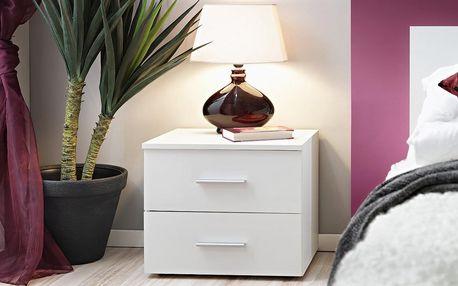 Noční stolek Vicky, bílá matná/bílá matná