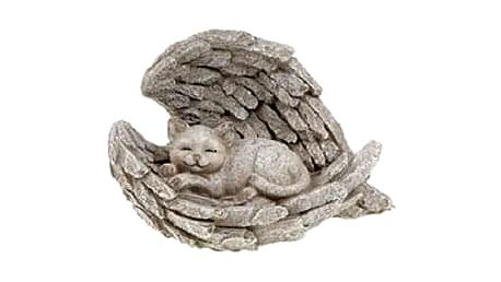 Zahradní dekorace Andělská křídla s kočkou, 23 x 13 x 16 cm