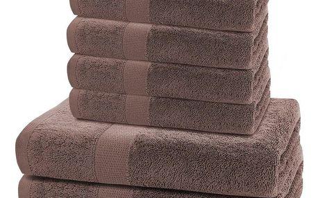 DecoKing Sada ručníků a osušek Marina tmavě hnědá, 4 ks 50 x 100 cm, 2 ks 70 x 140 cm