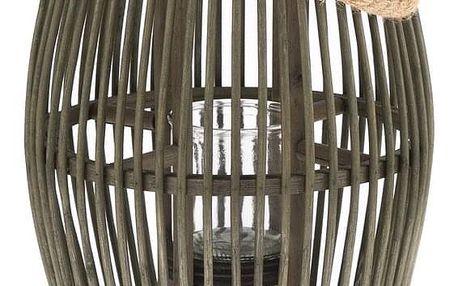 Bambusová lucerna se sklem Delgada, 25 x 49 x 24 cm