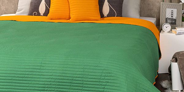4Home Přehoz na postel Doubleface oranžová/zelená3