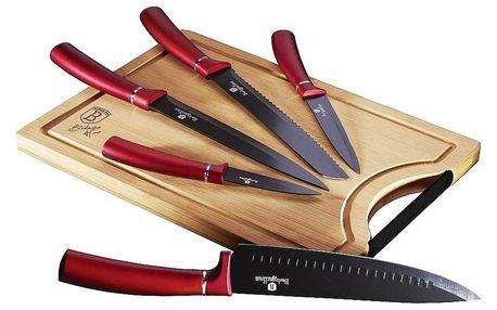 Berlinger Haus 6dílná sada nožů s prkénkem Burgundy Line