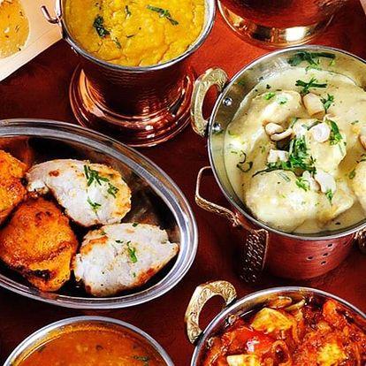 Indické degustační menu vč. nápojů pro 2 osoby