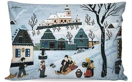 Matějovský Povlak na polštářek Deluxe Josef Lada Sáňkující děti, 33 x 50 cm