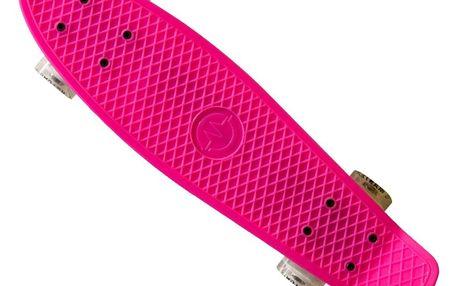 """Plastik Penny Board MASTER 22"""" se svítícími kolečky - růžový"""
