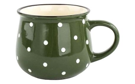 Keramický hrnek Dots 770 ml, zelená