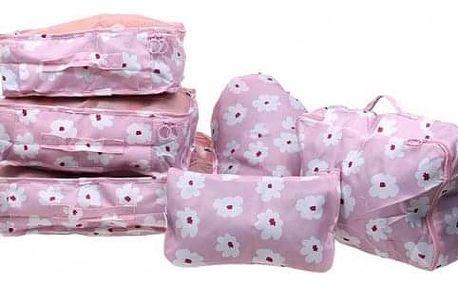 Cestovní organizér do kufru 6ks růžový s květy