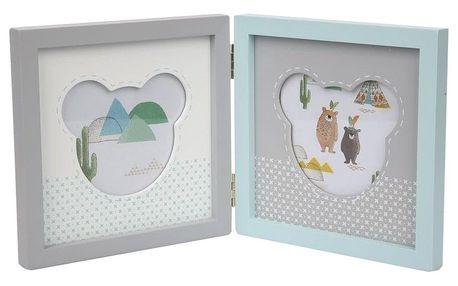 Altom Dřevěný rámeček na 2 foto Medvídek, modrá