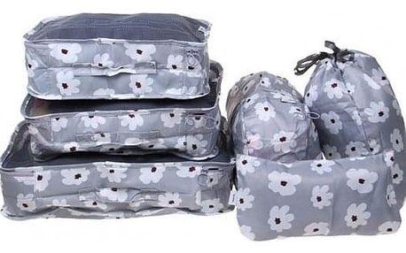Cestovní organizér do kufru 6ks šedý s květy