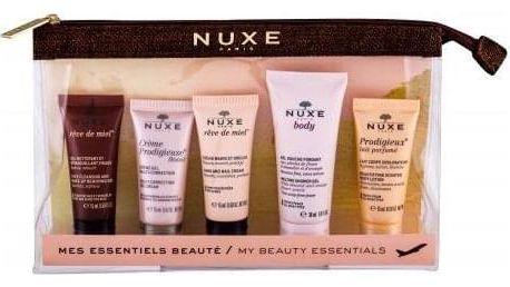 NUXE Crème Prodigieuse Boost Multi-Correction Gel Cream Travel Set dárková kazeta proti vráskám pro ženy denní pleťová péče 15 ml + odličovací gel 15 ml + krém na ruce 15 ml + sprchový gel 30 ml + tělové mléko 15 ml + kosmetická taška