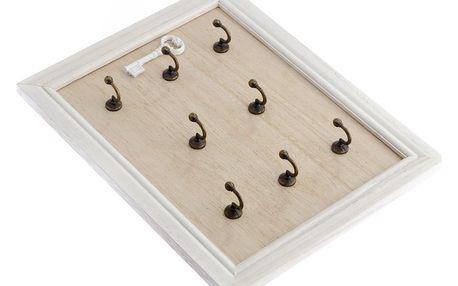 Dřevěný věšák na klíče White key, 25 x 32 cm