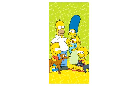 Jerry Fabrics Osuška The Simpsons family green 02, 70 x 140 cm
