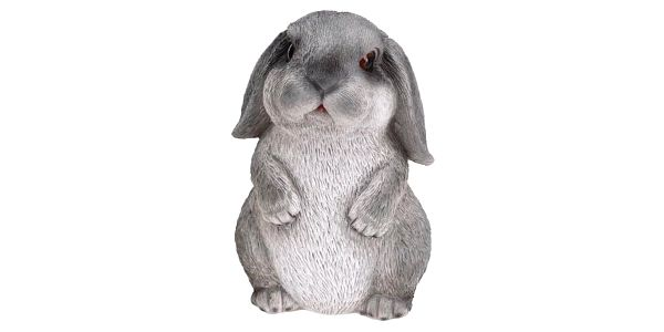Polyresinová dekorace sedící králík Bunn šedá, 15 cm