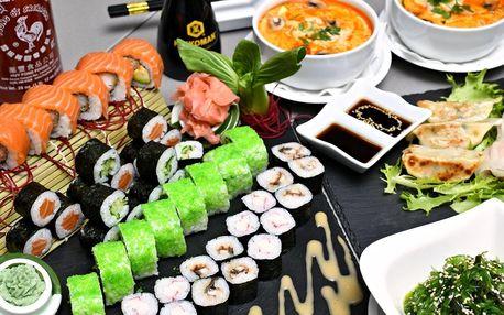 Sushi sety s wakame salátem i Tomkha polévkou