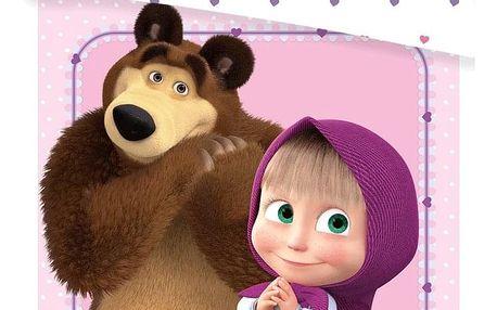 Jerry Fabrics Dětské bavlněné povlečení do postýlky Máša a Medvěd Srdce, 100 x 135 cm, 40 x 60 cm