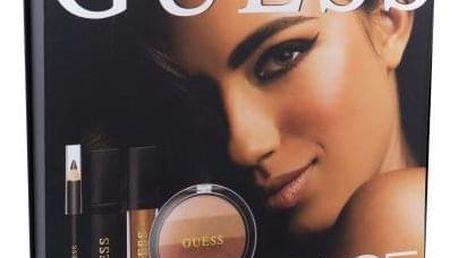 GUESS Look Book Face dárková kazeta pro ženy tvářenka 14 g + lesk na rty Matte 4 ml + řasenka Black 4 ml + tužka na oči Black 0,5 g + zrcátko 101 Bronze