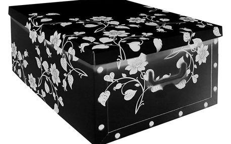 Home collection Úložná krabice s květy černá 49x39x24cm