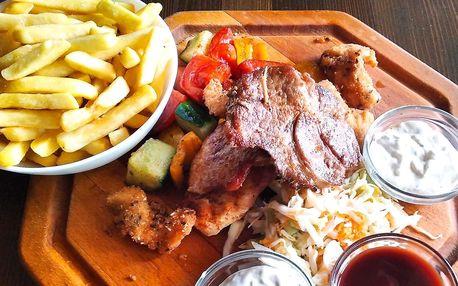 1 kg masa, grilovaná zelenina a hranolky pro 4–6 os.