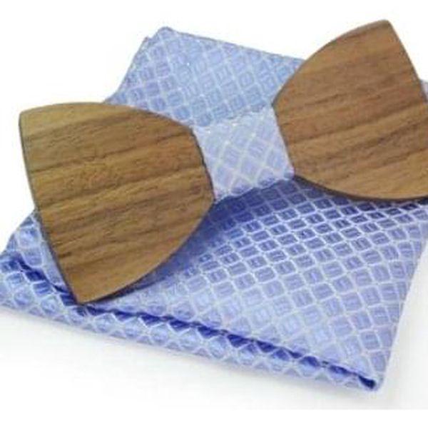 Dřevěný motýlek s kapesníčkem, vzor B014