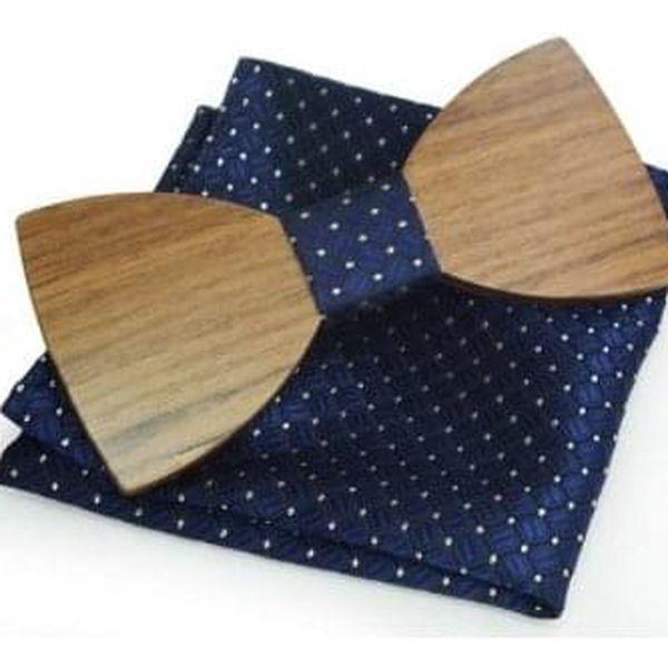Dřevěný motýlek s kapesníčkem, vzor B015