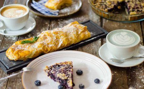 Domácí koláč či štrúdl a kvalitní káva dle výběru