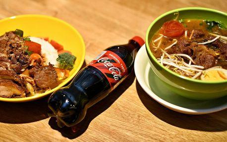 Čínská kuchyně: maso z grilu, ramen a nápoj