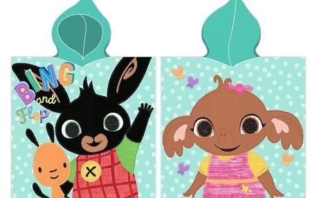 CARBOTEX Dětské pončo Zajíček Bing a Sula, 55 x 110 cm