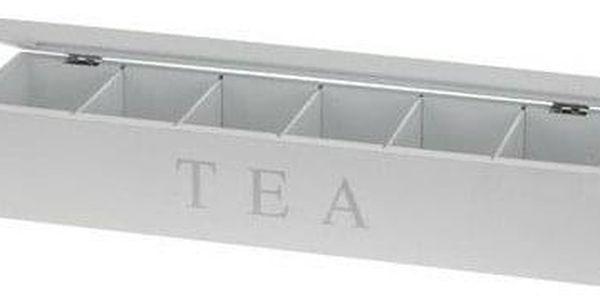Emako Dřevěný obdélníkový box na čaj TEA, 6 přihrádek2