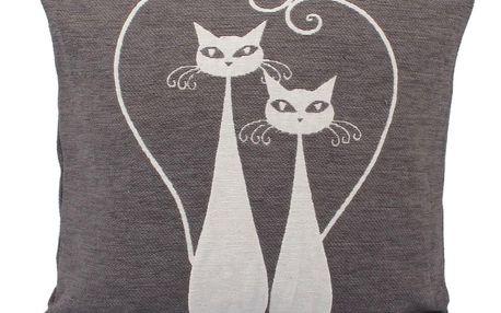 Dakls Povlak na polštářek Cats šedá, 40 x 40 cm