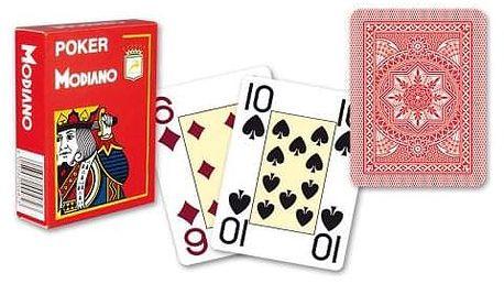 Modiano 4199 100% plastové karty 4 rohy - Červené