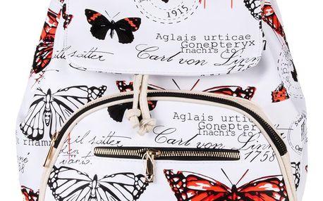 Fashion Icon Dámský batoh Vintage Butterfly s motýlky s čelní kapsou