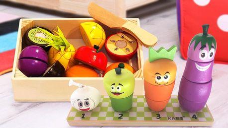 Dřevěné hračky pro děti: krájecí ovoce a zelenina