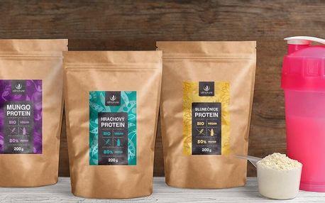 Rostlinné proteiny: hrachový, slunečnicový a mungo