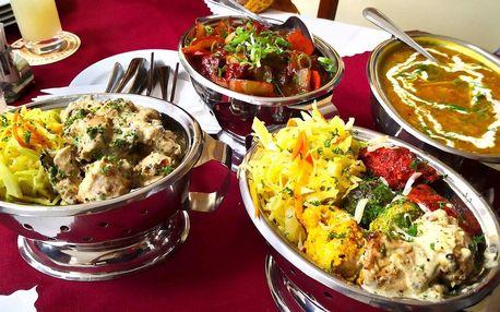 Kuřecí, jehněčí nebo vege indické menu pro 2 osoby