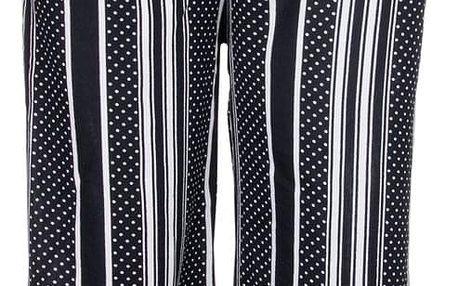 Eleuek Dámské 7/8 kalhoty široká nohavice pruhované s puntíky