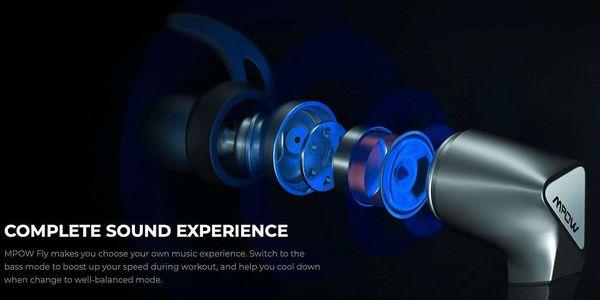 Sportovní bluetooth sluchátka MPOW Fly - černé2
