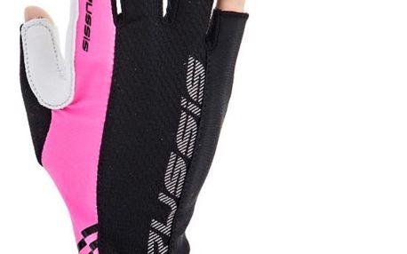 Cyklo rukavice CRUSSIS černo-růžové, vel. M