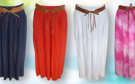Dámská dlouhá sukně s koženkovým páskem