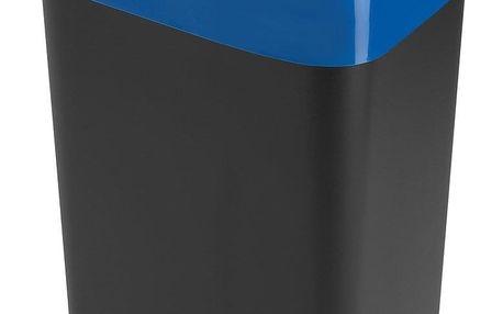 Heidrun Odpadkový koš 35 l, černý s modrým pruhem