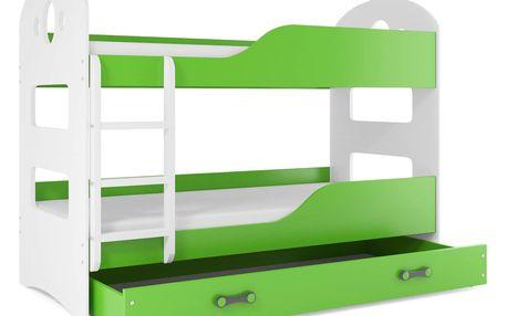 Patrová postel se zásuvkou Dominik 80x160cm, bílá/zelená