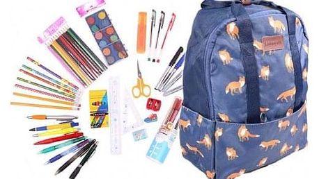 Batoh modrý s liškami s náplní školních potřeb