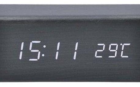 Solight hodiny s budíkem, bílé LED podsvícení, tři budíky, nastavitelná intenzita podsvícení, teploměr, dekor: černé dřevo - CA01B