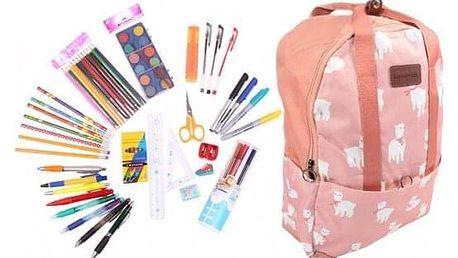 Batoh růžový s ovečkami s náplní školních potřeb